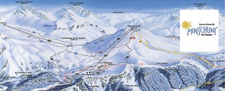 Panorama Wintersportgebiet Minschuns